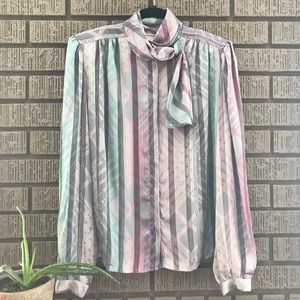 NICOLA • Pastel Striped Long Sleeve Blouse Size 12